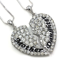 """Eloi Jewelry Mother and Daughter Necklace Best Friend Pendant Necklace Gift (Size: 1.5"""" * 1.5"""", Color: White) = 6014651719"""