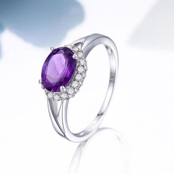 Oval Natural Amethyst Engagement Rings For Women 100% 925 Sterling Silver sterling-silver-jewelry Brand Fine Jewelry