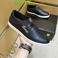GUCCI Men Flats Leather Sneakers Sport Shoes Casual sandals Best Quality Black