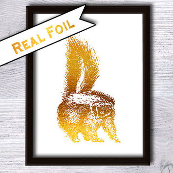 Raccoon art print Animal poster Real gold foil decor Animal art print Raccoon real foil poster Home decoration Wall hanging art decor G17