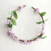 Lilac Floral Hair Wreath. Bridal Accessories. Bohemian. Bridal. Light Purple. Flower Crown. Woodland Wedding. Fall. Hair Tiara, Autumn