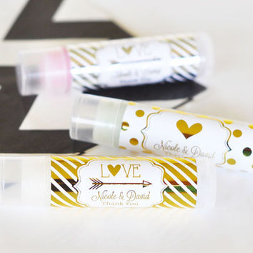 SET of 25 Personalized Chapstick Favor - Bachelorette Chapstick - Gold Bridal Shower - Personalized Favor Lip Balm Favor set of 25