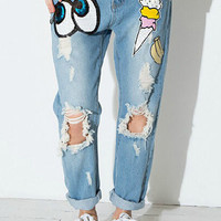 Lightwash Blue Sequined Beaded Ripped Jeans