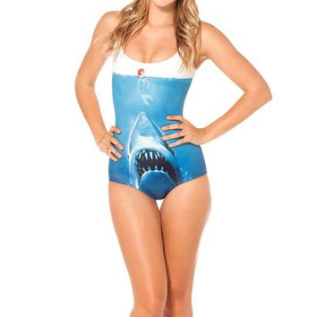 Shark vs Mermaid Ariel and Jaws Digital Print Scoop Neck Sleeveless Bodysuit for Women
