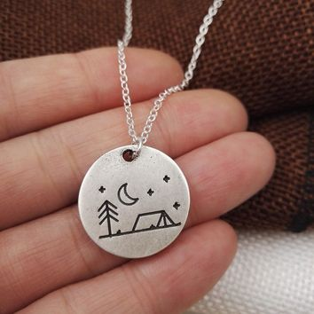 1pcs Lovely Pine Tree house star moon Camping Necklace necklace camping jewelry simple life Outdoor Jewelry Gifts for Campers