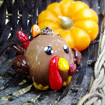 Gibbers the Turkey Bubbimal -- Handmade Polymer Clay, Chubby Bird Animal Ornament, Cute Thanksgiving Gift, Kawaii Collectible