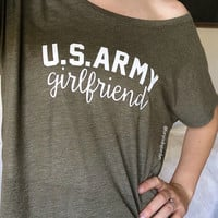 Army Girlfriend Shirt Army Wife Shirt Slouchy Shirt Off The Shoulder Army Shirt Custom Army Shirt