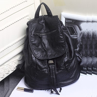 Stylish Back To School Comfort College On Sale Hot Deal Korean Leather Casual Rinsed Denim Backpack [6582621319]