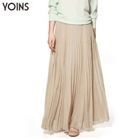 YOINS Woman Casual Chiffon Pleated Solid Large Swing Maxi Skirt Ladies Bohemia Loose Floor-Length Long Skirts Famininos Vestidos