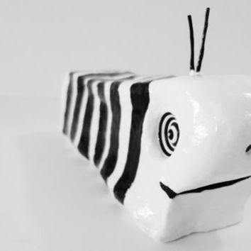 Original Black and White Modern Minimalist Clay Sculpture of Slug Ooak - FREE SHIPPING (Canada & US)