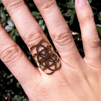 Seed of Life Ring, Bohemian Ring, Brass Ring, Tribal Ring, Sacred Geometry, Ethnic Jewelry, Indian Jewelry