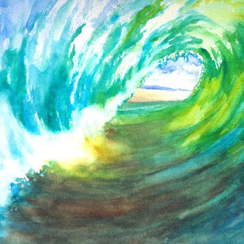 Ocean Wave Barrel, Original Watercolor, 12x16, Wave tube, Surf art, Wave Curl, Ocean theme, Tropical art, Beach house art