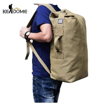 CREY3F 2017 Multi-purpose Military Canvas Backpack Solid Color Men Weekend Sports Travel Duffle Bags Outdoor Tactical Rucksack XA208WD