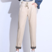 Fendi women autumn and winter high quality new fashion letter print thick keep warm leisure sports pants Black