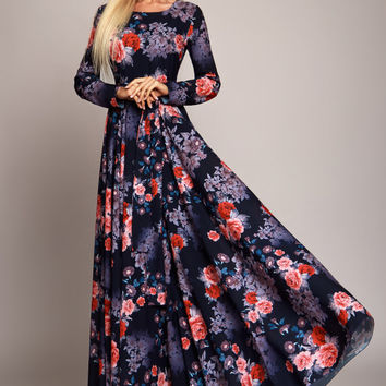 Dark blue Floral maxi dress, long sleeve dress, summer dress, Bridesmaids Dress, Formal dress, Evening Gowns, Special occasion womens dress