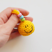Smiley face. Soft keychain. Various colors. Handcrafted gifts for friends. Summer accessory. Bag charm. Happy emoticons. Cute gifts for kids