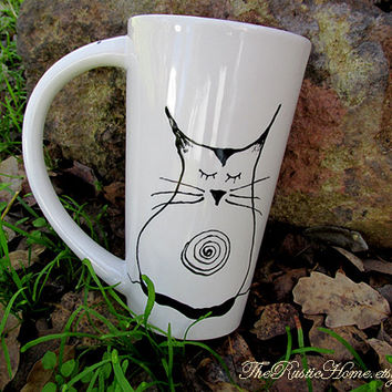 Ohm Kitty ready to ship tall pottery mug cat lover