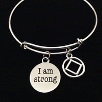 Narcotics Anonymous I AM STRONG Silver Expandable Charm Bracelet Bangle