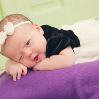 Newborn Headband Photo Prop - Ivory Chiffon Hair Bow Head Band for Infant - Skinny Elastic Headband for Infant - Newborn Photo Prop