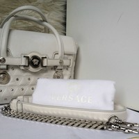 "100% Auth Ivory GIANNI VERSACE Signature Studded Silver Medusa 11"" Chain Bag"