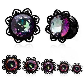 ac DCCKO2Q 1Pair Crystal Zircon Ear Tunnels Plug Shellhard Stainless Steel Screw Ear Piercing  Flesh Tunnel Stretcher Ear Expanders Jewelry