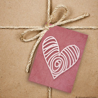9 Handrawn Heart Gift Tags, Valentine's Day 2.5 x 3.5 Hang Tag, Pink and White Product Tag With Jute Twine, Love Greeting