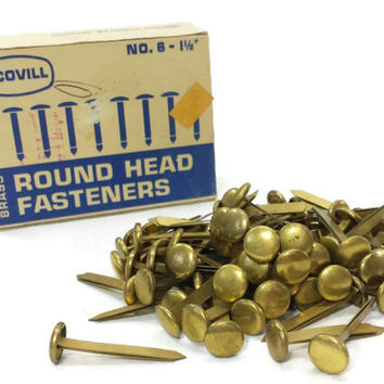 Scovill Brass Round Head Paper Fasteners No. 6, Vintage Office Supply, Made in USA, Mad Men, Crafts, Altered Art Supplies, 1 1/2 inch Shank
