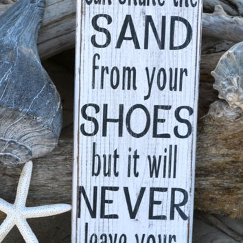 Beach Decor, Beach Sign, Beach Theme, You Can Shake The Sand From Your Shoes, Coastal Home House Painted Wood Rustic Distressed