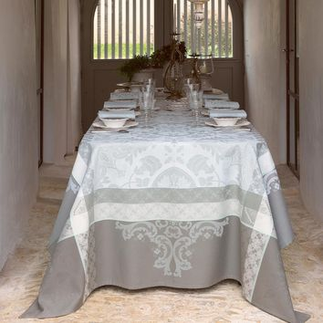 Azulejos Grey Table Linens by Le Jacquard Français