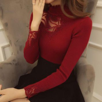 ONETOW Lace Knit turtleneck Sweater Bottoming Shirt