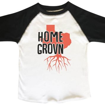 Texas Home Grown BOYS OR GIRLS BASEBALL 3/4 SLEEVE RAGLAN - VERY SOFT TRENDY SHIRT B825