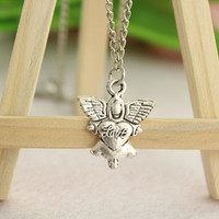 necklace--love heart angle necklace, antique silver necklace, charm pendant,alloy necklace,alloy chain