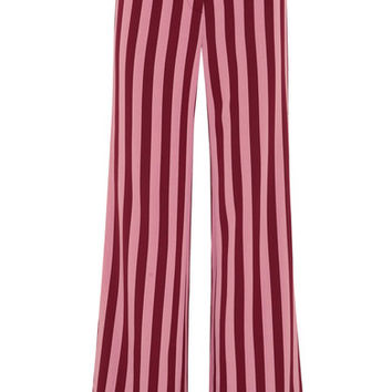 ALEXACHUNG - Striped crepe wide-leg pants