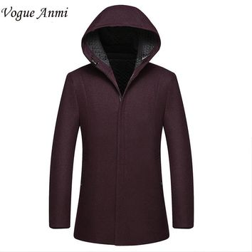 Vogue Anmi. 2016 new arrival men's wool coat medium-long male thickening cashmere large outerwear winter trench sizeL XL 2XL 3XL