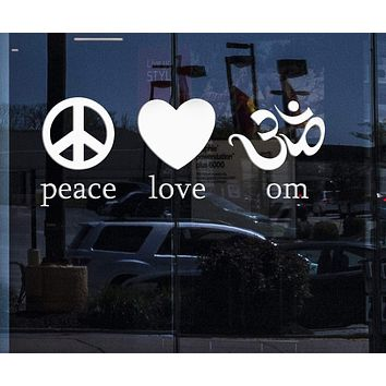 Window and Wall MURAL Vinyl Art Sticker Om Peace Love Yoga Symbol Spirit Mind Body Decor Unique Gift M582w
