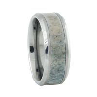 Tungsten Deer Antler Ring