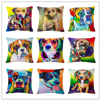 Nordic Style Colorful Dogs Printed 17 x 17 Decorative Throw Pillow Cushion Cover