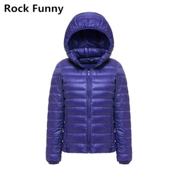 Women Ultra Light Thin Hooded Down Jacket Candy Color 90% White Duck Casual Fashion Solid Warm Down Zipper Jacket Winter Coat