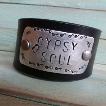 GYPSY SOUL Hand Stamped on a Black Leather Cuff Bracelet