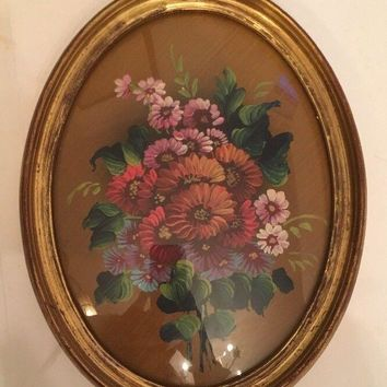 Lola Ades original signed floral bouquet oil Painting Frames Italy Victorian