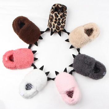 Winter Cute Modeling Monster Paw Baby Warm Slippers  First Walkers