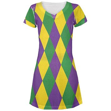 Mardi Gras Jester Costume Juniors V-Neck Beach Cover-Up Dress