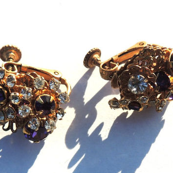 Miriam Haskell Earrings, Purple Rhinestone Flower Earrings, Vintage Earrings