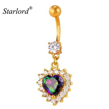 Brand Body Jewelry Zirconia Crystal Heart Belly Button Rings For Women Gold Color Flower Navel Piercing Nombril New DB2087