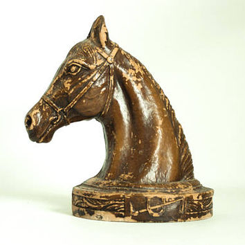 Vintage Aged Syroco Wood Horse Statue Bookend, Wood Composite Pony Head Figurine, Rustic Ranch Decor