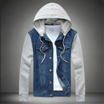 Hoodie men 2018 spring fashion men's cotton hoodie jeans jackets outerwear patchwork Denim Jacket Men Hoody Plus M-5XL