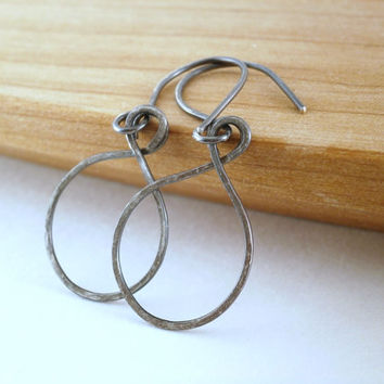 Simple Oxidized Silver Hoop Earrings Metalwork Hammered Sterling Silver Earrings Dark Gray Hoops Rustic Jewelry Handcrafted Artisan Earrings