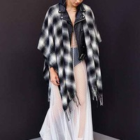 Plaid Fringe Blanket Scarf- Black & White One
