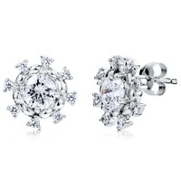 BERRICLE Sterling Silver Cubic Zirconia CZ Flower Snowflake Fashion Stud Earrings