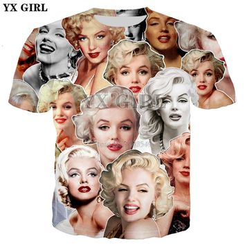 YX GIRL 2018 Summer New Fashion T-shirt Sexy actress Marilyn Monroe Collage 3D Print Men's Women's Casual Hipster t shirt